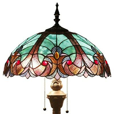 Tiffany Style Floor Standing Lamp 64 Inch Tall Green Liaison Stained Glass Sh...