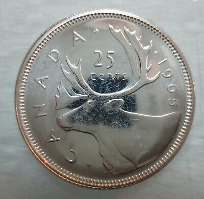 1965 Canada 25 Cents Proof-Like Silver Quarter Coin