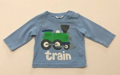 MINI BABY BODEN Boys Blue Train Long Sleeve Shirt Size 0-3 Months