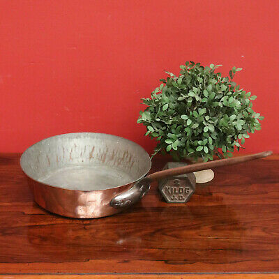 Large Antique French Copper Fry Pan Saucepan with Brass Handle, Heavy Gauge