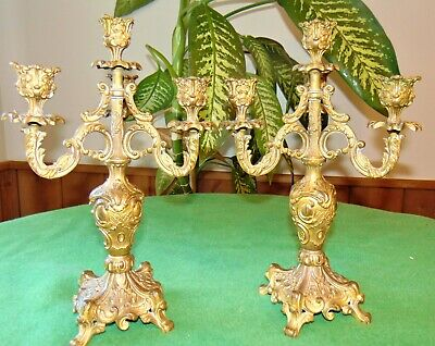 """ANTIQUE 13""""Vintage Louis XV French Bronze Candelabra Candlesticks Candle Holders"""