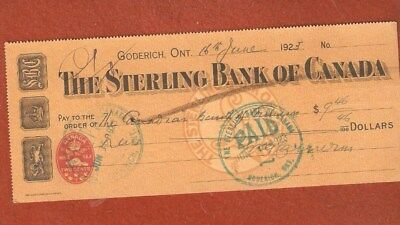 The Sterling Bank of Canada (Goderich Ontario) Year 1923 E486