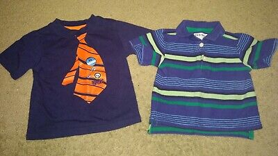 Toddler Boy 12m Short Sleeve Shirts Lot Of 2