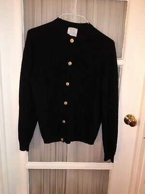 VTG Bullocks Wilshire Black Pure Cashmere Sweater Britain Gold Buttons One Owner