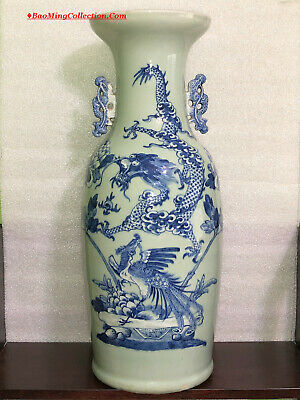 Huge 58cmH Chinese Qing Blue and White Porcelain  Dragon & Phoenix Floor Vase