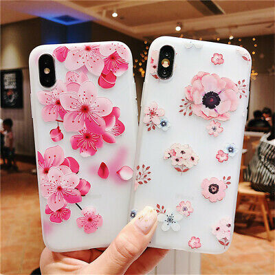iPhone XS Max XR X 8 7 6s 6 Plus Soft Ultrathin Flower Pattern Clear Case Cover
