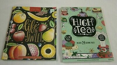 2 Lot - Life Is Sweet & High Tea - Adult Coloring Books Art Therapy