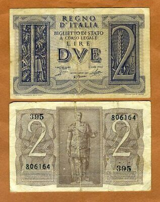Italy, 2 Lire, 1939, P-27, F > 80 years old