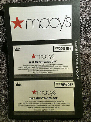 Macy's Coupons valid through 12/31/19