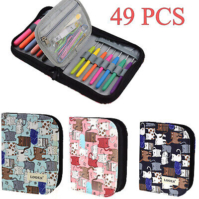 Set of 49 Crochet Hook Kit Yarn Knitting Needles Sewing Tools Ergonomic Grip Bag