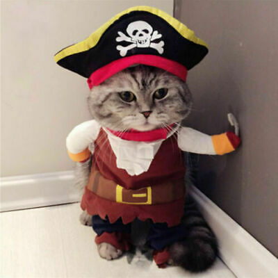 Pet Small Dog Cat Pirate Costume Outfit Clothes Christmas Cosplay Puppy Apparel
