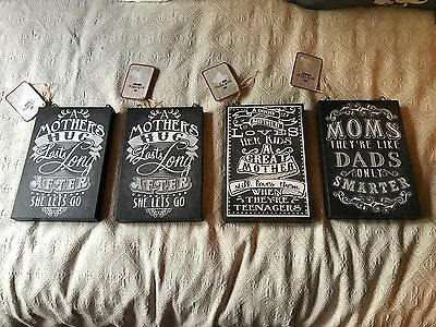 Mother's Mom Baby Nursery Wall Art Black & White Canvas Pictures Script Chalk