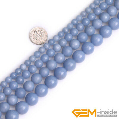 """Natural Blue Angelite Stone Round Loose Beads for Jewelry 15"""" 6mm 8mm 10mm 12mm"""
