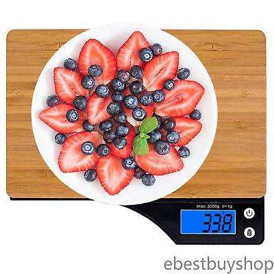 Ataller Bamboo Wooden Digital LCD Electronic Kitchen Food Weighing Scales 5kg