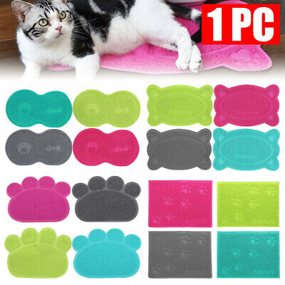 Dog Puppy Cat Paw Shape Placemat Pet Dish Bowl Feeding Food PVC Mat Wipe Clean