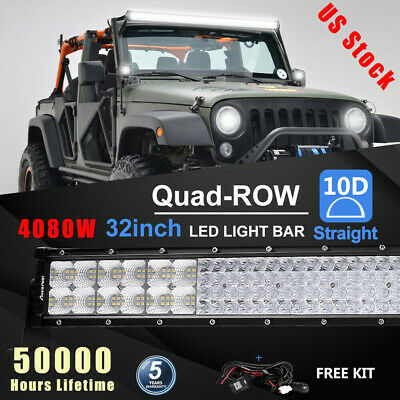 32Inch 4080W Quad-Row LED Work Light Bar Flood/Spot Combo Beams Off-Road Driving