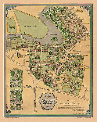 1938 Pictorial Map Smith College Campus Vintage History Wall Poster Genealogy