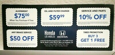 Set of 5 Honda Dealership Auto Service Discount Coupons New Los Angeles Location