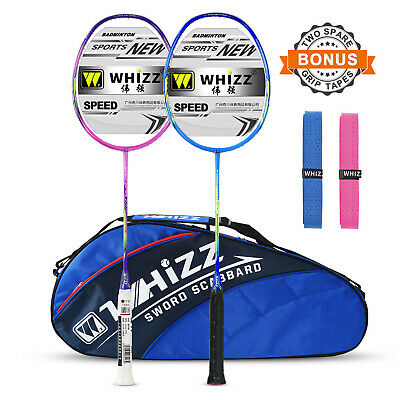 Whizz Graphite Badminton Racket Set of 2, Upgraded Version with Grommet Strip