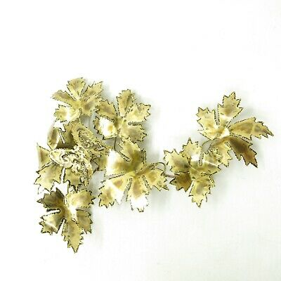 """Mid Century Modern Brutalist Metal Wall Sculpture Butterly Leaves Jere Style 18"""""""