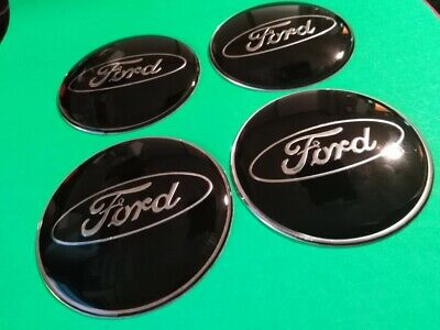 4 x 65mm Aluminium UV Resin Centre Cap Overlay/Stickers - for Ford - Black