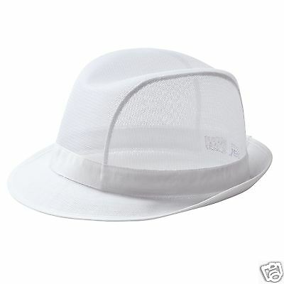 Large White Mesh Trilby Hat PAL Butchers Food Service Canteen Chef Catering SRT