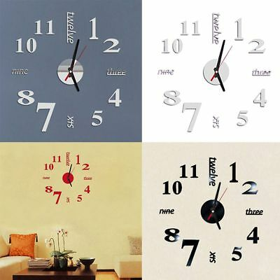 3D DIY Wall Clock Fashion Mirror Sticker Living Room Home Modern Decor