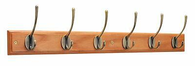 Keypak Victorian 6-Hook Wall-Mounted Coat Rack, Oak Finish, Brass