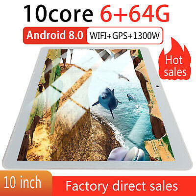 "10"" Tablet PC 6G+64G 8 Core Android 8.0 Dual SIM & Camera Wifi Phone Phablet"