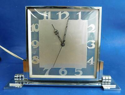 Art Deco Chrome Plated Electric Mantle Clock Apfel Frank Austria 1930s