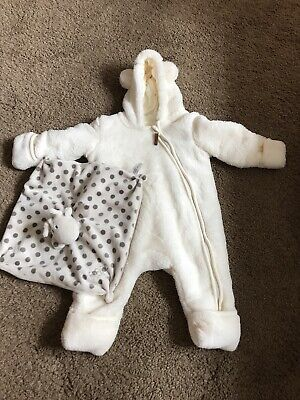 Cream Baby Snow Suit All In One And Raff Comforter