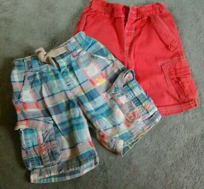 Next boys two pairs of summer shorts 1.5 - 2 years red blue check