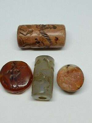 replica* 2 seal stamp and 2 cylinder agate/hardstone seal #971811