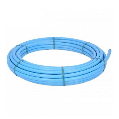 Blue MDPE Plastic Mains Water Pipe Size 20mm 25mm Length 25m 50m 100m Coils