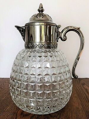 Large Antique Victorian Ice Water Pitcher~Crystal & Silverplate on Zinc~Italy