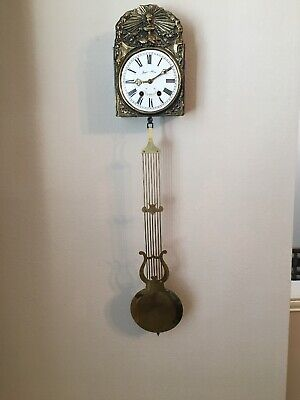 Vintage Jacques Almar Clock W/Key For Parts/Repair No Weights/Chains