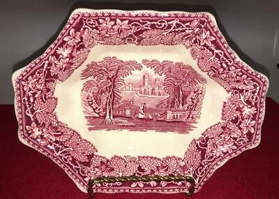 """Masons Vista Pink Red  Sweet Meat Nut  Candy Dish 7 3/4""""  Landscape England"""