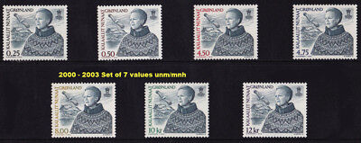 Greenland 2000 - 2003 Queen Margrethe II Definitives set of 7 values, UNM / MNH