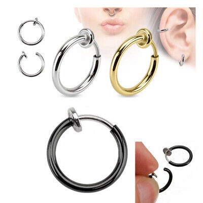 4x Fake Clip On Spring Nose Hoop Ring Ear Septum Lip Eyebrow