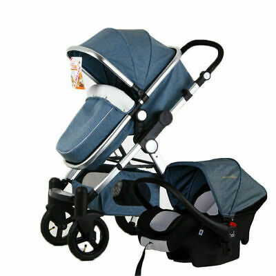 Baby Stroller 3 In 1 High View Pram Foldable Pushchair Bassinet&Car Seat Navy