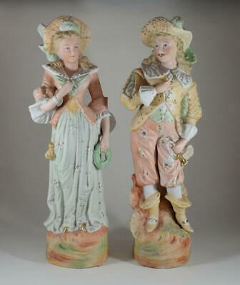 Pair Of Stunning Antique Victorian German Bisque Hand Painted Figures