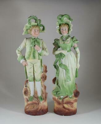 Pair Of Antique Victorian German Bisque Porcelain Hand Painted Figures