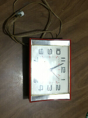 Vtg GE General Electric Telechron Wall Clock 2H106 Red MCM Working