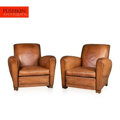 STUNNING 20thC PAIR OF LEATHER CLUB CHAIRS c.1930