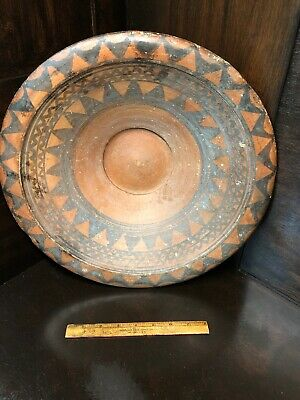 "MLC S3558 Big 15"" X 4"" Painted Red Ware With Design Pre Columbian Pot Pottery"