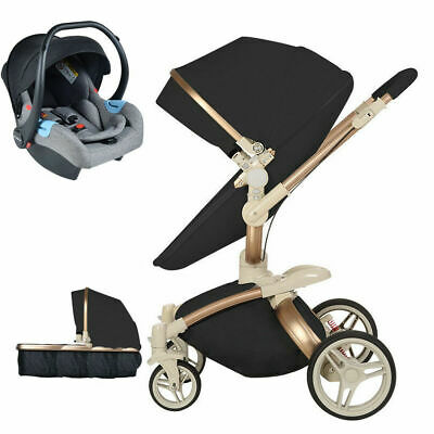 Baby Stroller 3 in 1 travel system Hot Mom Bassinet pram Pushchair Car SeatBlack