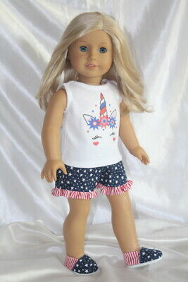 Patriotic Dress Outfit fits 18inch American Girl Doll Clothes Lot Shoes Unicorn