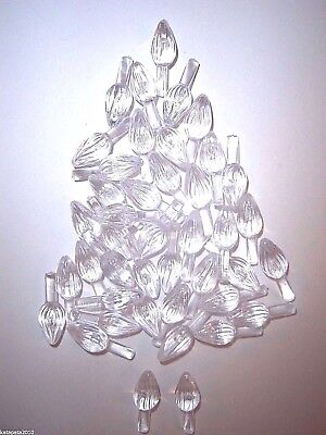 50 Ceramic Christmas Tree SMALL CLEAR TWIST BULBS Replacement Lights Pegs