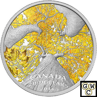 2014 Autumn Allure -Maple Canopy Color Prf $20 Silver 1oz .9999 Fine(NT)(14008)