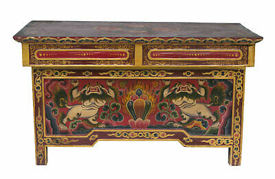 Table Tibetan in Tea Buddhist 71x36cm Chepu Furniture Autel Nepal Tibet 26490